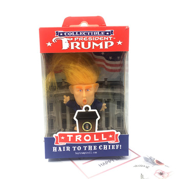 Simulation Donald Trump Suit Troll Doll 6cm Funny Long Hair President Action Figure Table Car Decoration Furnishing Articles In [new] the walking dead zombie head action figure model resin crystal car ornament home desk decoration furnishing articles gift