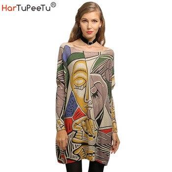 2020 Autumn Sweater Dress Women Oversize Loose Pullover Knit Sweaters Imaginative Print Batwing Long Sleeve Basic Winter Tops batwing sleeve self tie knit dress