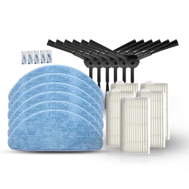 6*Side Brush+5*HEPA Filter+5*Mop Cloth+5*Magic paste for IBoto Aqua X310 Robot Vacuum Cleaner Parts