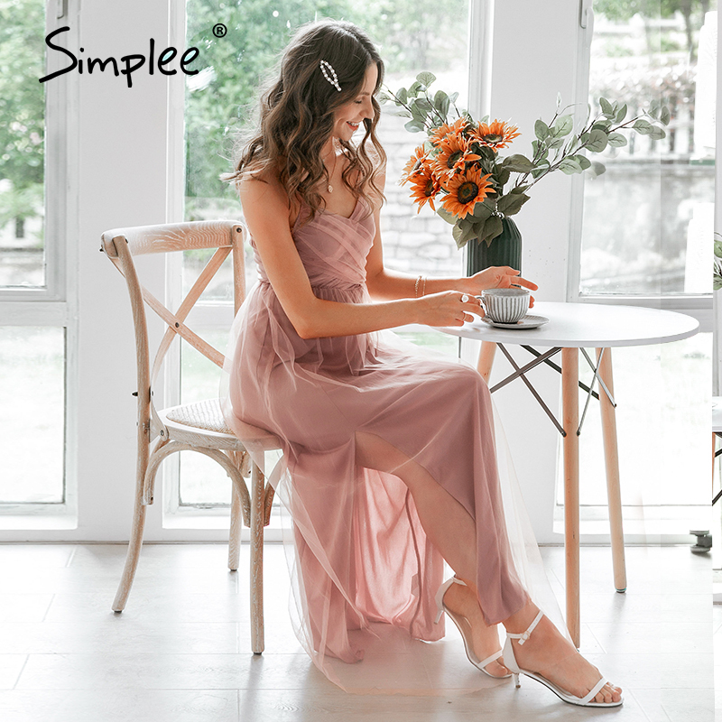 Simplee Sexy V-neck Spaghetti Strap Evening Dress Elegant Women Solid Mesh Long Party Dress Summer Style Pink Ladies Maxi Dress