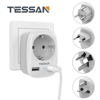 Mini Size International Travel Plug Adapter with EU Outlet and 2 USB Ports 5V/2.4A Wall Charger Protbale Power Socket mirco onesam powerport adapter chargers 2usb ports auto max 2 1a usb travel wall charger 2 foldable plug os c02