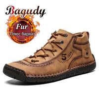 Mode Männer Leder Stiefel herren Warme Pelz Schnee Stiefel Winter Schuhe Hohe Qualität Split Leder Komfortable Knöchel Männer Warme stiefel 48