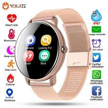 Montre connectée pour hommes et femmes, moniteur de pression artérielle, entièrement tactile, moniteur de Sport rond, WhatsApp, Android IOS, horloge intelligente, 2021