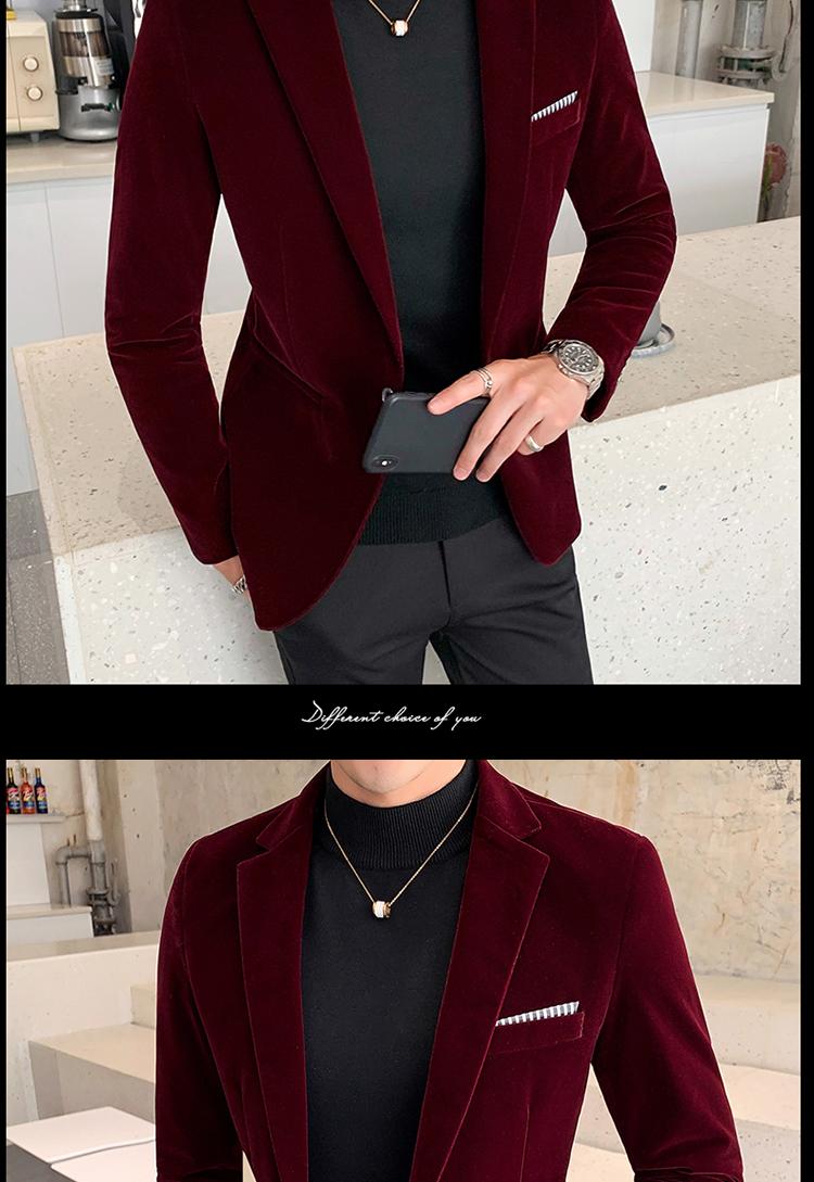 Hc6103ec85efe4ab390bd4dcea016e48ee - Autum Velvet Wedding Dress Coat Mens Blazer Jacket Fashion Casual Suit JacketStage DJ Men's Business Blazers Veste Costume Homme