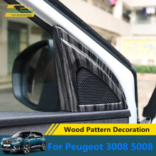 For Peugeot 3008 4008 5008 Wood Pattern Decoration Foor door A Column Speaker Cover ABS Moulding Accessories 2019 2020(China)
