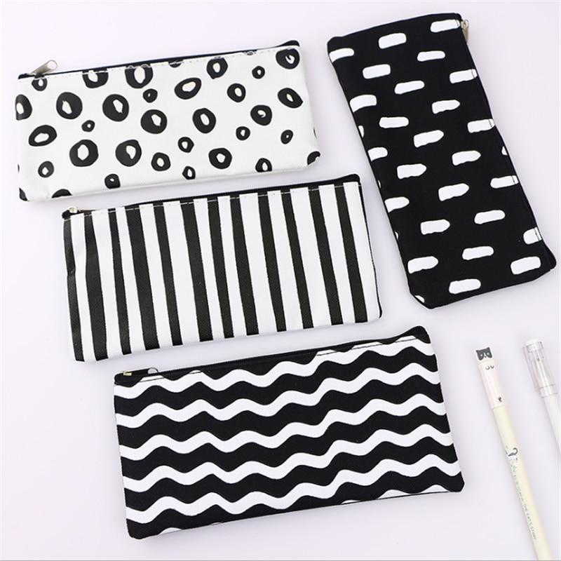 Vogvigo Strip Wave Dot Transparent Makeup Bag PVC Zipper Cosmetic Organizer Bag Students School Cosmetic Pencil Bag Case Pouch