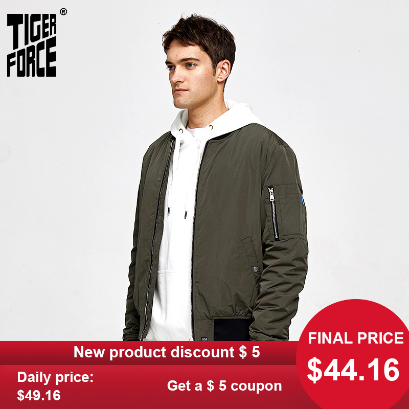 TIGER FORCE 2020 NEW Spring  Men Bomber Jacket Windbreaker Fashion  Short Coat  Male Outerwear Casual Stand Collar 50442