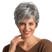 Короткие Серые натуральные волнистые парики для женщин синтетический