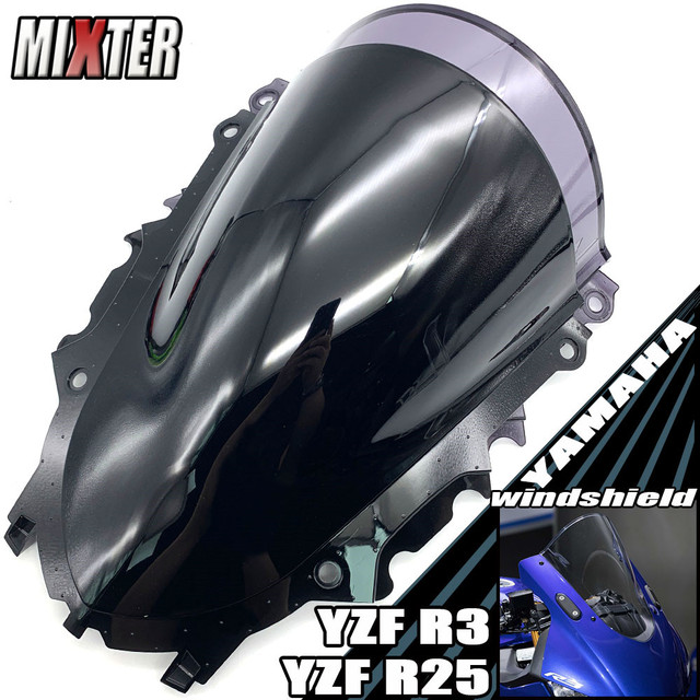 Motorcycle Racing Double Bubble Windshield WindScreen Visor Viser Deflector For YZF R3 V2 2019 2020 YZF R25 19 20 YZF R3 R25