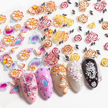 3D embossed flower leaf nail sticker decals Empaistic Engraved sticker Nail Art Deco designs manicure acrylic decoration