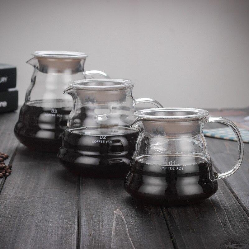 Pot à café en verre de 800 ML/600 ML/350 ML Pour le filtre à café du Style japonais V60 réutilisable versent au-dessus des tasses à café en verre de café