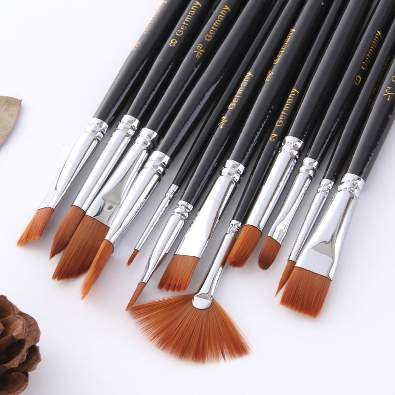 12 Pcs/set Watercolor Paint Brushes Set Nylon Hair Painting Brush Variety Style Short Rod Oil Acrylic Drawing Pens Art Supplies