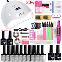 Everything for Manicure Set Polygel Acrylic Nail Kit 48/80w Proessional Gel Polish Set Manicure Brushes Beauty Art Builder Tools