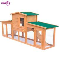 VidaXL Large Rabbit Hutch Chicken Coop Cage Guinea Pig Ferret House W/ 2 Storeys Run Large Outdoor Household Cage Pets House V3