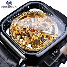 Forsining New Arrivals Black Square Mechanical Watch Automatic Skeleton Transparent Genuine Leather Band Wristwatch Montre Homme
