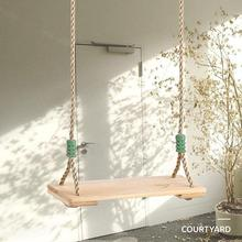 Classic Wooden Swing Seat with Strong Swing Rope Height-adjustable Hanging Outdoor For Indoor Swing C2B9