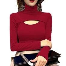 T-shirt à manches longues et col haut pour femme, basique, résistant, coréen, automne, hiver, sauvage, Sexy, ajouré, Slim