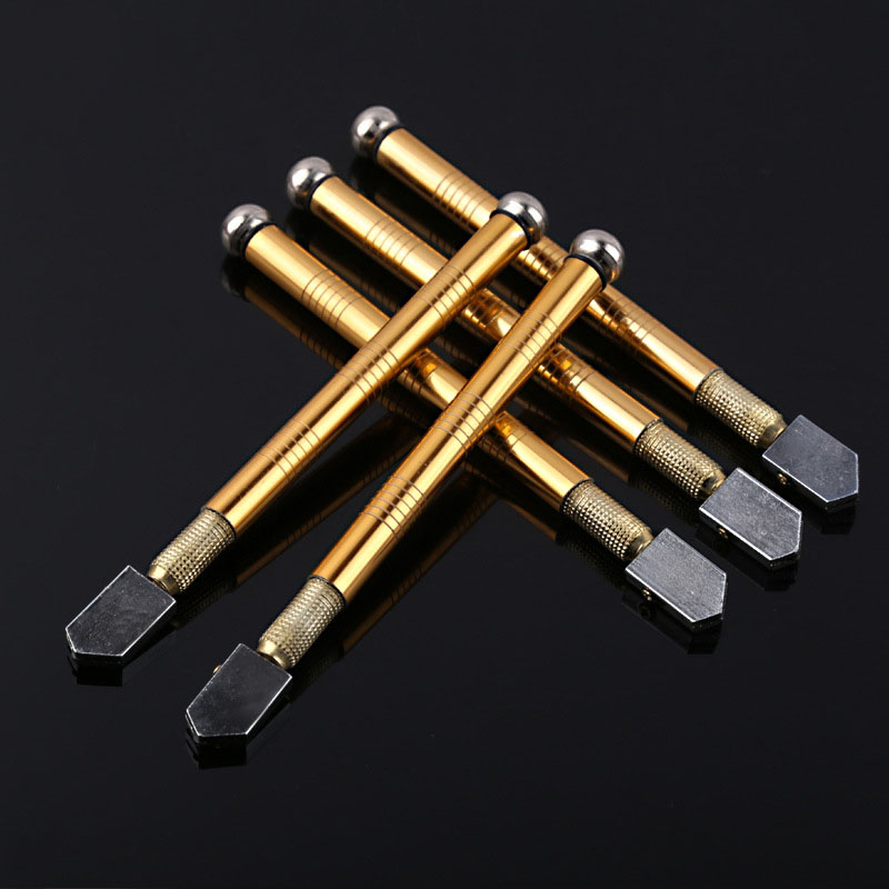 Резак для стекла Алмазная режущая головка стальное лезвие режущий инструмент Поставка масла противоскользящая металлическая ручка 175 мм д...