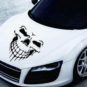 Image 2 - スカルヘッド車のステッカーやデカール反射ビニール車のスタイリング自動車エンジンフードドアデカールビッグサイズ 40 × 36 センチメートル
