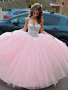 Pink Quinceanera Dresses Strapless Sequin Crystal Bead Tulle Sweet 16 Dresses Graduation Gown Vestidos Ball Gown Evening Dress(China)