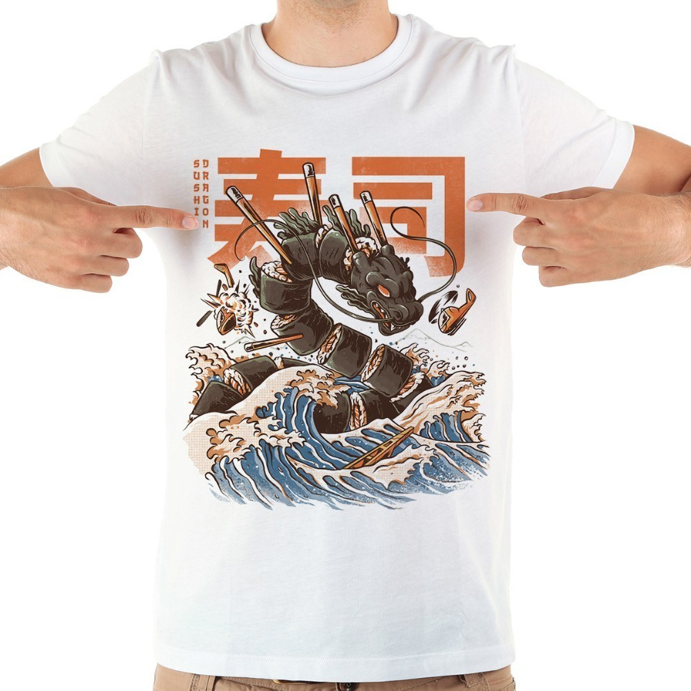 Забавная Мужская футболка с японским аниме «великими суши», драконом кайдзю, Новинка лета 2020, белая Повседневная крутая Мужская футболка с коротким рукавом,