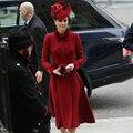 Кейт Миддлтон размера плюс высокое качество элегантное торжественное Офисные женские туфли на рабочем месте красная кашемировая шерстяна...