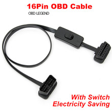 цена на 16 Pin Flat Extension Cable With Switch OBD Line OBD2 Female To Male Cable OBDII Noodle Cable Auto Car Diagnostic Connector
