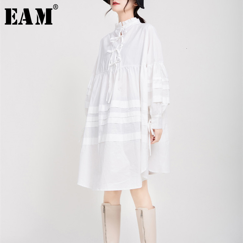 [EAM] Women White Ruffles Split Joint Big Size Dress New Stand Collar Long Sleeve Loose Fit Fashion Spring Autumn 2020 1B891