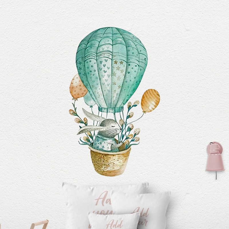 Акварель воздушный шар кролик наклейки на стену для детской комнаты для детской спальни настенный Декор мультяшная Наклейка на стену украшение дома|Наклейки на стену|   | АлиЭкспресс