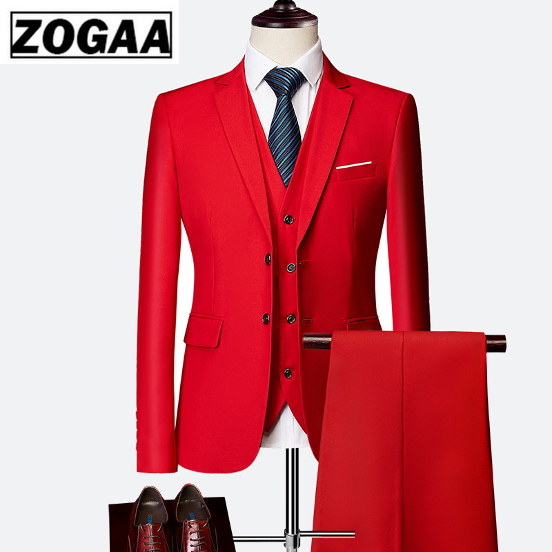2019 Male Wedding Dress Custom Made Groom Tuxedos Men's Suits Tailor Suit Red Blazer Suits For Men 3 Piece Jacket+Pants+Vest