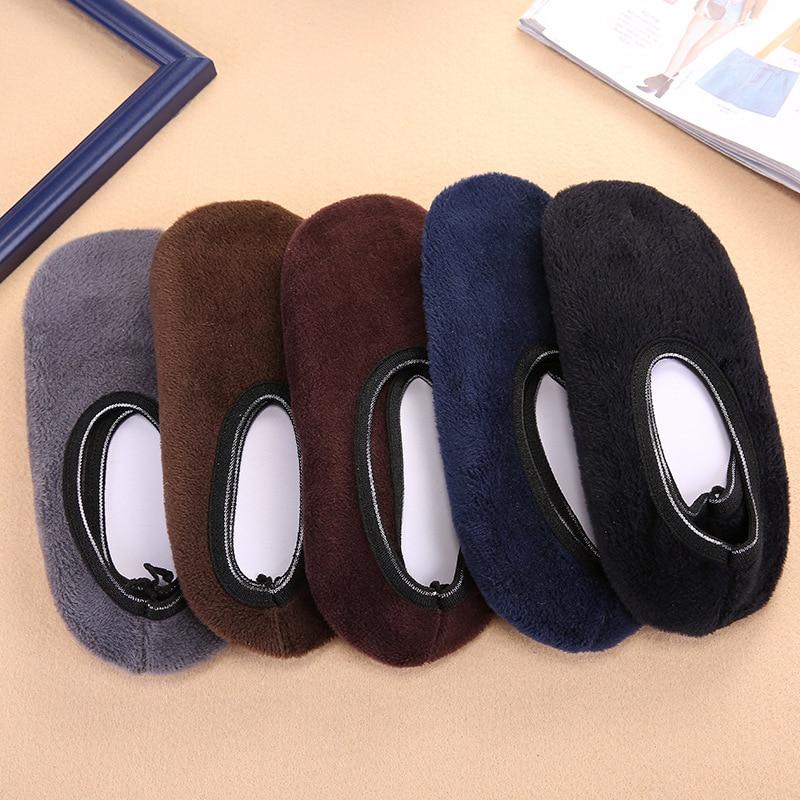 Зимние теплые утолщенные домашние носки для женщин; модные однотонные Нескользящие короткие носки; эластичные тапочки; домашние носки Тапочки Носки      АлиЭкспресс