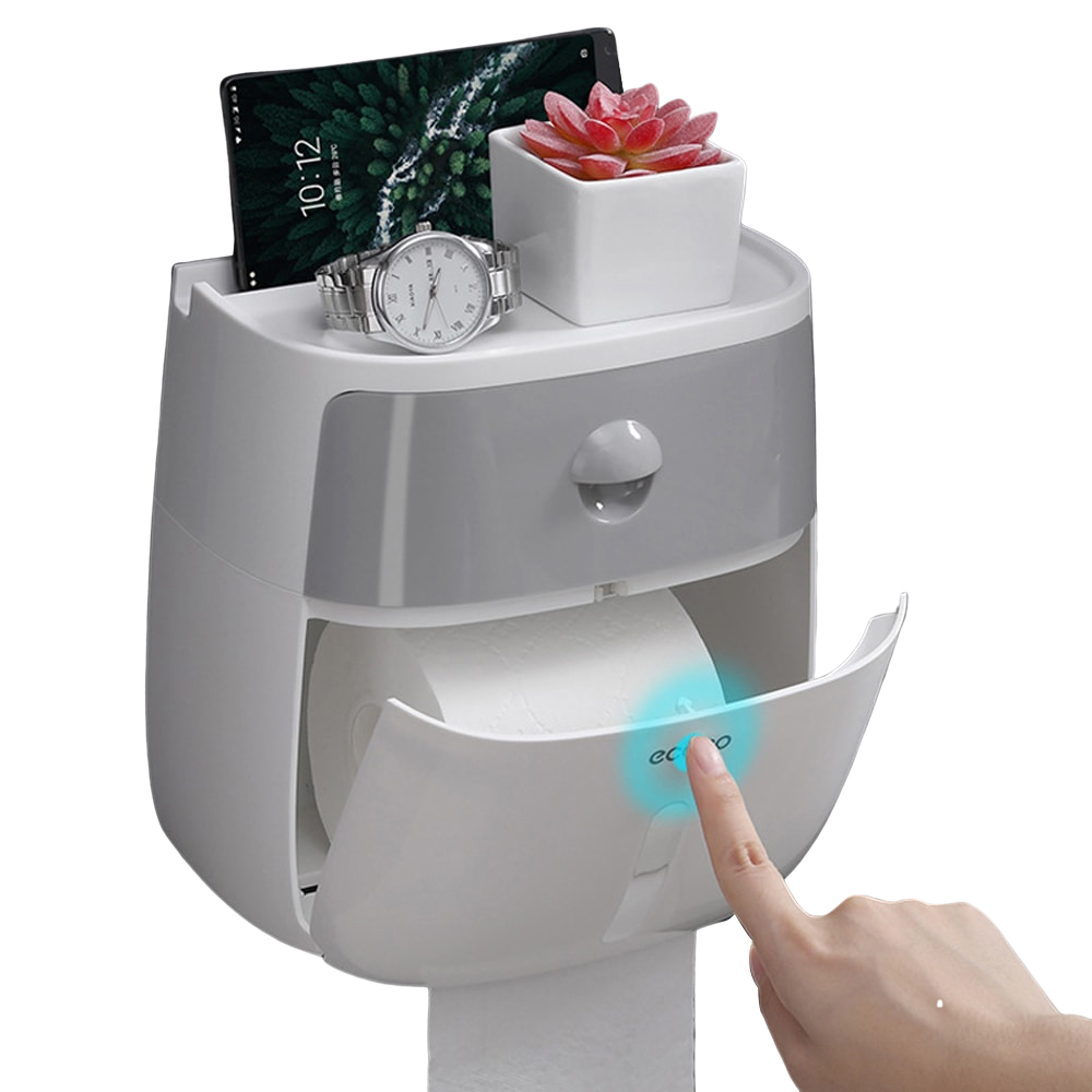 Waterproof Wall Mount Toilet Paper Holder Shelf Toilet Paper Tray Roll Paper Tube Storage Box Creative Tray Tissue Box Home