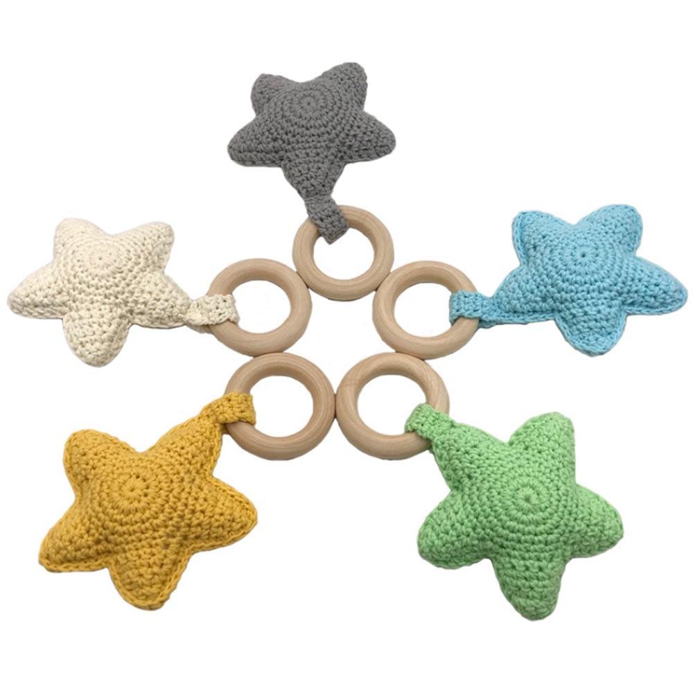 Baby Nursing Bracelets Wooden Teether Cute Crochet Chew Beads Teething Wood Rattles Toys Teether Montessori Bracelets Hot Sale