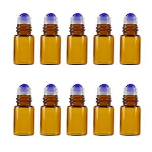 10Pcs 2ml Amber Glass Roll on Bottle Sample Test Essential Oil Vials with Roller Refillable Bottle Travel Cosmetic Container