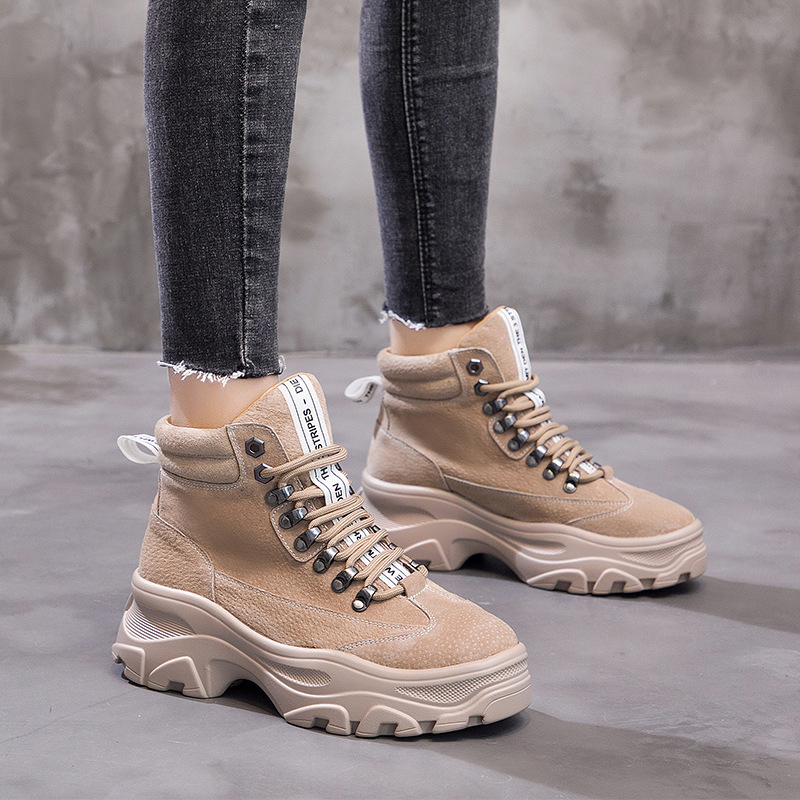 New Women genuine leather winter boots warm fur women fashion platform shoes 2019 retro high-top casual martin boots botas mujer