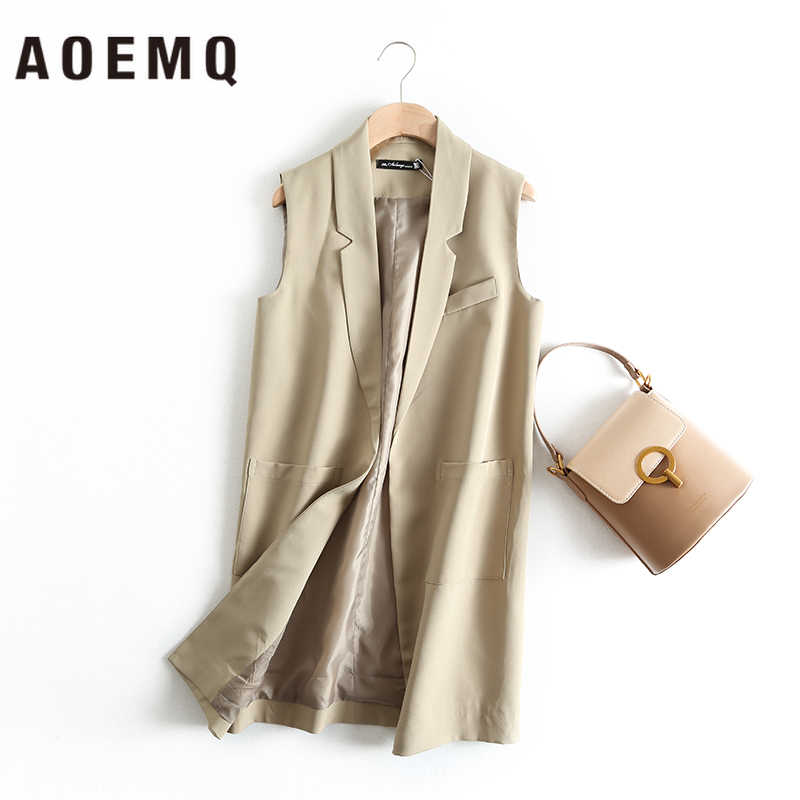 AOEMQ Westen Büro Dame Strickjacke Outwear Ärmelloses Schwarz/Beige Kragen Weste Formal Unisex Jacken Streetwear Frauen Kleidung