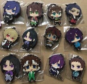 Image 2 - 12pcs/lot Random Send Hakuouki BoYing ghost Anime keychain Yukimura Jiziru Hijikata Toshizo Okita Rubber mobile phone strap