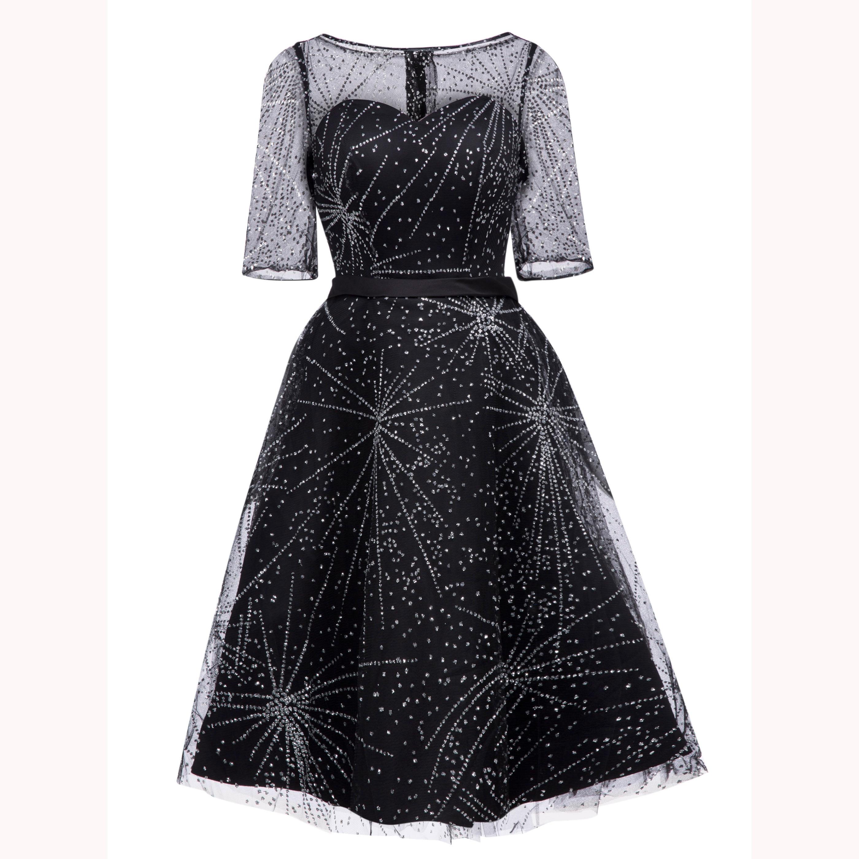 Dressv elegante vestido de cóctel negro cuello redondo media manga longitud de la rodilla una línea vestido señora homecoming Vestidos cortos de cóctel