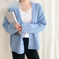 Women Light Blue Sweater Cardigan V Neck Single Breasted Loose Warm Knitted Coat Spring Fashion Femme Elegant Korean Top