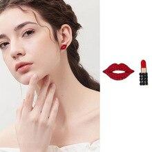 Fashion Sexy Red Lips Lipstick Zircon Stud Earrings For Women Lady Asymmetric Rhinestone Crystal Jewelry Wholesale Dropshipping