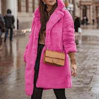 Женское зимнее пальто из искусственного меха розового и красного цвета с отложным воротником, теплая верхняя одежда для женщин 2019, корейски...