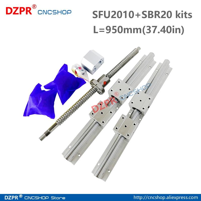 CNC Parts Set SFU2010 950mm 37.40in + SBR20 950mm Rail SBR20UU block BK15/BF15 End Support+RM2010 Nut housing 12mm*8mm coupler