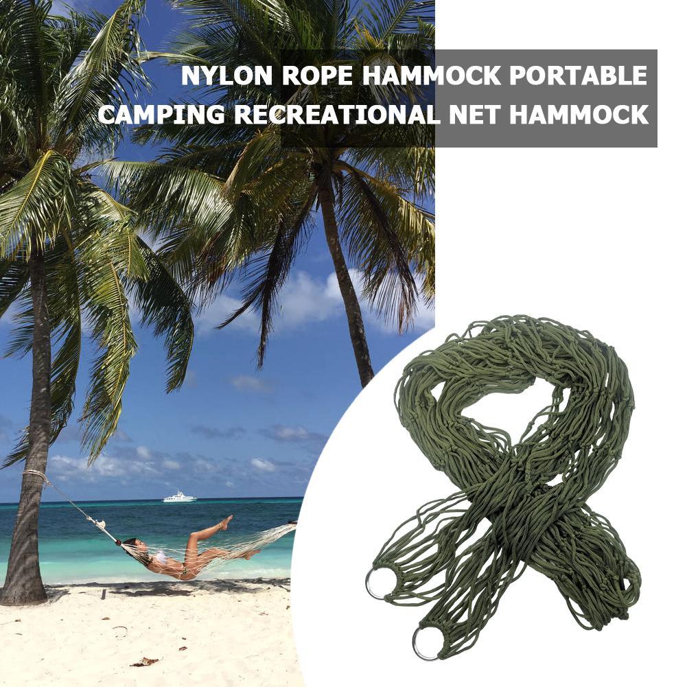 Portable Nylon Hanging Bed Mesh Net Swing Sleeping Camping Travel Hammocks Utdoor Hunting Sleeping Bed Swing Lazy Chair Canvas