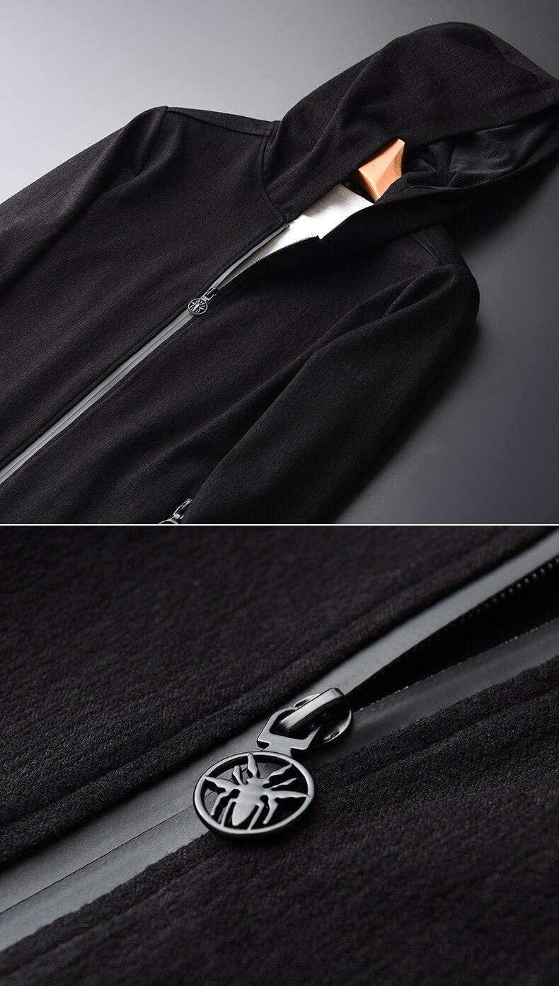 Модная мужская флисовая толстовка с капюшоном, цветная Лоскутная куртка с боковой молнией, повседневная мужская куртка с длинным рукавом, ч... - 3