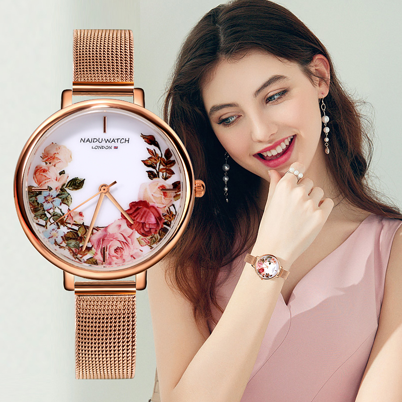 Top Fashion Luxury Brand Watches Women Style Flowers Painting Women Watch Stainless Steel Watches Ladies Clock reloj mujer