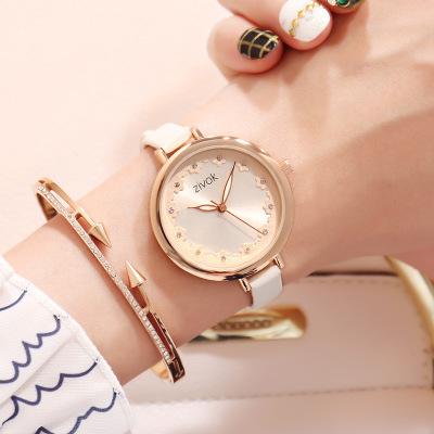 2019 Hot Leather Bracelet Watch Women Wrist WatchesSelling Vintage Cow Studded Strap Casual Luxury Quartz Watch in Women 39 s Watches from Watches