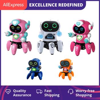 Inteligentny tańczący Robot elektroniczny sześcio-pazurowy taniec RC Robot w zestawie LED muzyka Nina zabawkowe roboty na prezent urodzinowy dla dzieci tanie i dobre opinie CN (pochodzenie) 3 lat Unisex Z tworzywa sztucznego Zasilanie bateryjne Miga Brzmiące electronic Elektroniczne zwierzęta