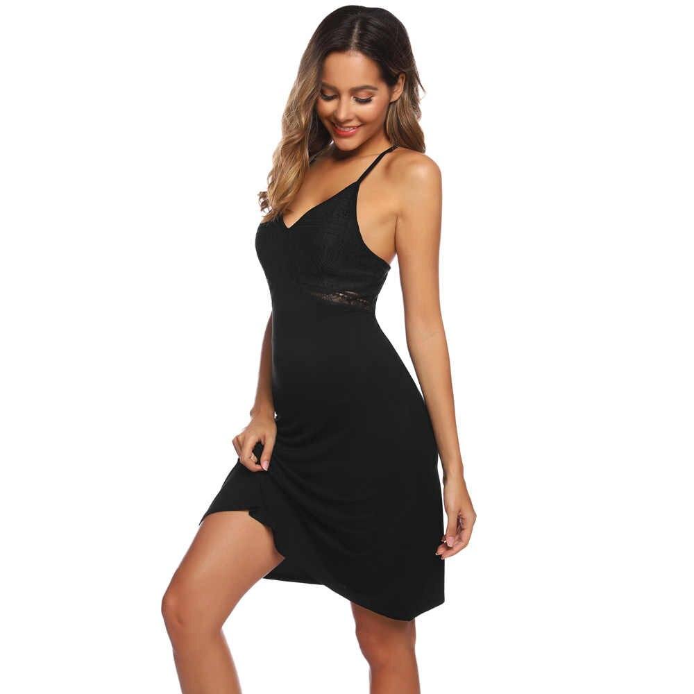 Zexxxy frauen Bequem Weichen Sexy Nachtwäsche Kleid Einfarbig Spitze Nähte V-ausschnitt Schlinge Nachthemd Comfy Rayon Homewear Kleid