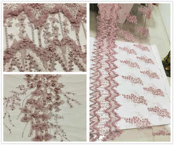 NEW lace fabric african lace fabric high quality Beaded French Lace Fabric Nigerian lace fabric 3D Lace 5 yards per lot ZXW-129