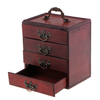 Decorative Trinket Jewelry Storage Box Vintage Wood Chest